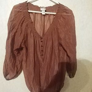Ladies curvy size sheer flowy blouse. Brown v-neck